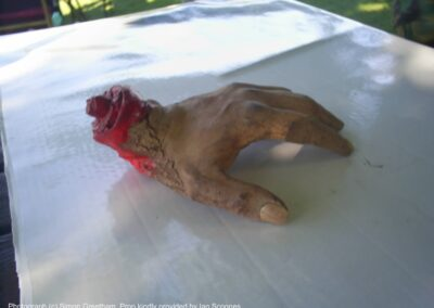 Original severed hand prop made by Ian Scoones for The House That Bled To Death